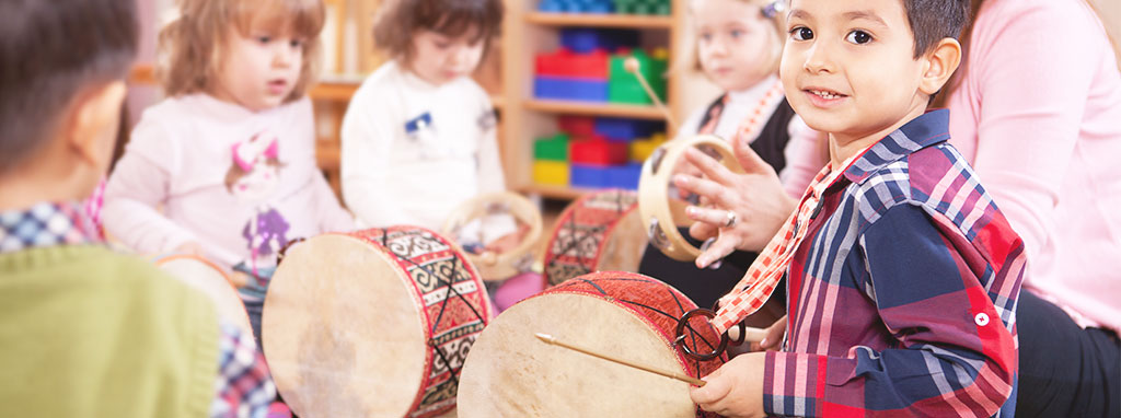 Liberty Post NY Integrated Preschool, Children in preschool playing the drums